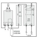 схема подключения din терморегулятора через узо